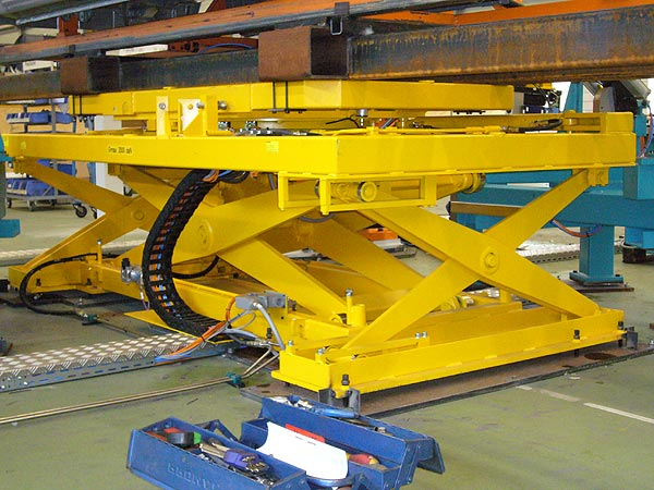 Heavy duty scissor lift platform with turn table and stabilizer scissors
